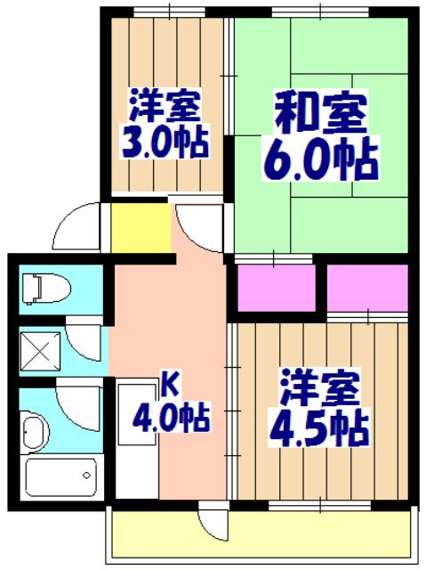 鎌ケ谷サンハイツ 208号室の間取り