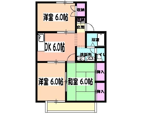 セジュール田喜野井 101号室の間取り