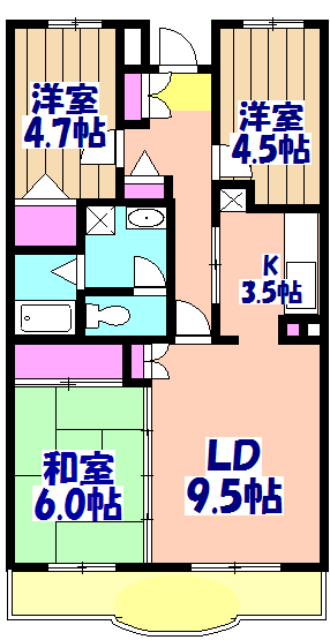 ブランシェ塚田 213号室の間取り