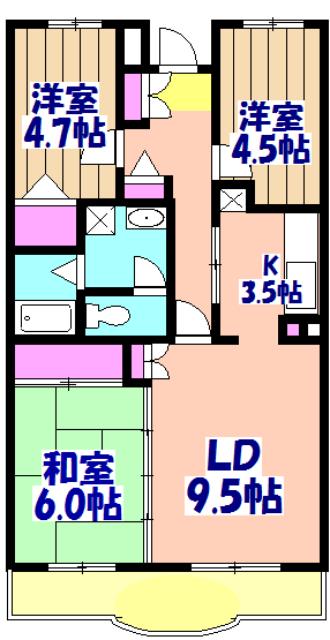 ブランシェ塚田 313号室の間取り