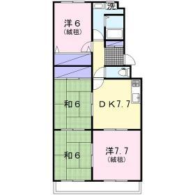 リバーサイド桜ヶ丘 202号室の間取り