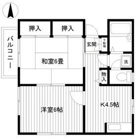 コスモハイツ桜ヶ丘 201 201号室の間取り
