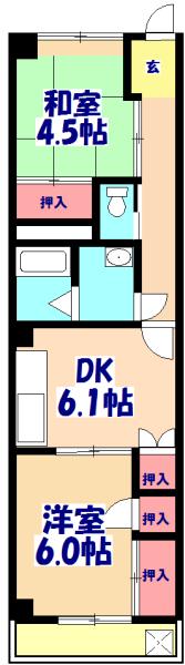 アパートメント21 305号室の間取り